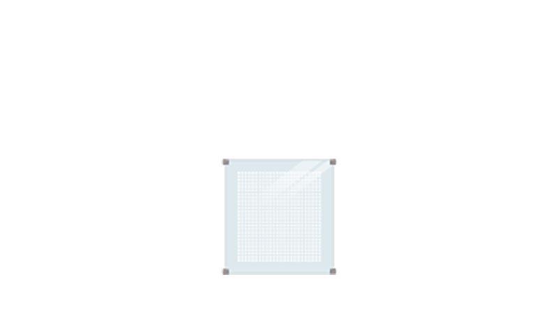 Der San Sebastian Glaszaun mit Siebdruck hat ein Maß von 90 x 91 cm