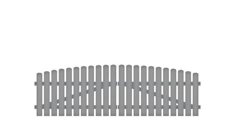 Plegeleichtes Doppeltor aus Kunststoff, 308 x 80 auf 95 cm, grau (RAL 7056), inkl. verstellbare Edelstahlbeschläge (6mm starke Ladenbänder vormontiert), Überwurf, Bodenriegel, Metallhülsen und Arretierung.