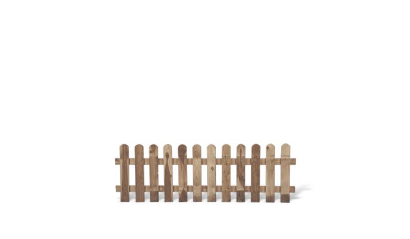 Ein dekorativer Holzzaun aus druckimprägniertem Kiefernholz uns einem Maß von 180 x 60cm
