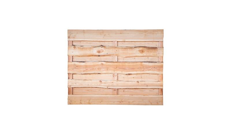 Sichtschutzzaun aus naturbelassenen Bohlen mit Baumkante und 3 Querriegeln, aus eurpäischer Lärche. Maße: 180 x 150 cm (BxH)
