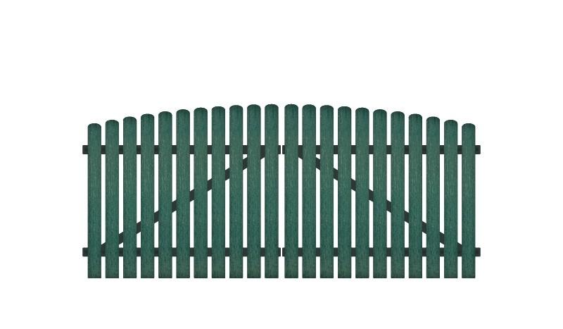 Wetterfestes Doppeltor aus Kunststoff, 308 x 120 auf 135 cm, grün (RAL 6012), inkl. verstellbare Edelstahlbeschläge (6mm starke Ladenbänder vormontiert), Überwurf, Bodenriegel, Metallhülsen und Arretierung.