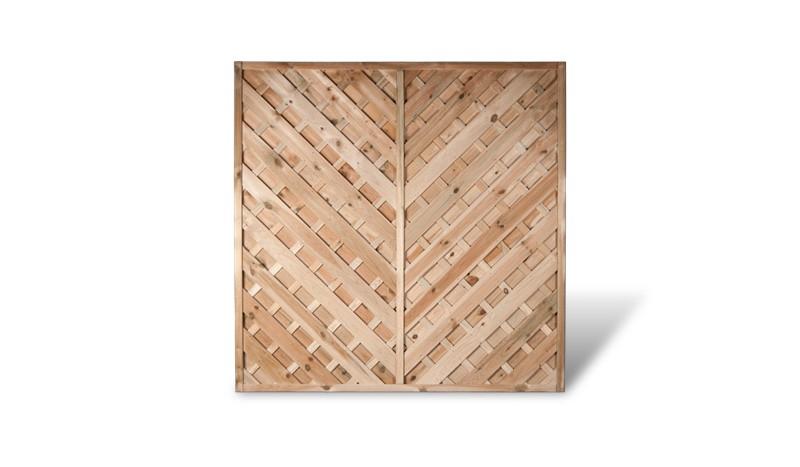 Ein Holzsichtschutz der Serie Berlin Diagonal mit einem Maß von 180 x 180cm
