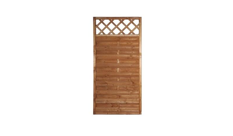 Der Holzzaun Rostock 90 x 180cm mit Rankgitter ist mit fungizidem Holzschutz und Kiefer Lasur vorbehandelt
