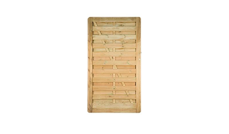 Das Holzzaun Tor wird mit einem Einsteckschloss, dass für Profilzylinder vorgerichtet ist und einem 90 mm Dornenabstand geliefert.