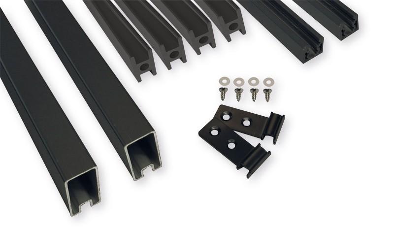 Das HPL-Steckzaun Befestigungsset wird zum Abschließen der Elemente, sowie zur Befestigung zwischen den Lamellen und Anbringung am Pfosten benötigt. Farbe: Anthrazit