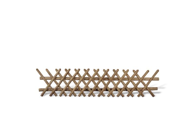 Jägerzaun aus druckimprägnierter braunen Kiefer/Fichte. 250x60cm. Lattenstärke ca. 55 mm