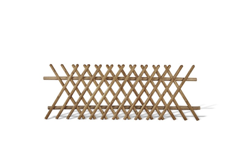 Jägerzaun aus druckimprägnierter brauner Kiefer/Fichte. 250x100cm. Lattenstärke ca. 55 mm
