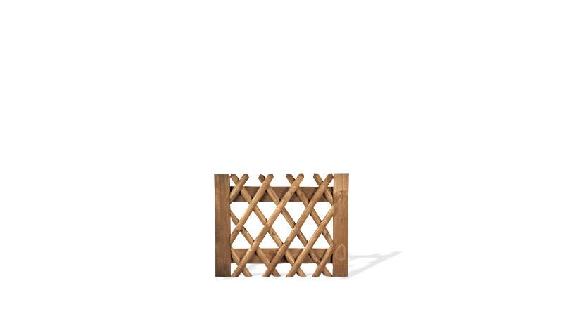 Jägerzauntor aus brauner druckimprägnierter Kiefer/Fichte. 100x80cm. genagelt. Lattenstärke ca. 55 mm