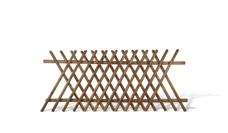 Jägerzaun aus brauner druckimprägnierter Kiefer/Fichte. 250x120cm. Lattenstärke ca. 55 mm