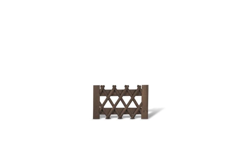 Jägerzauntor aus brauner druckimprägnierter Kiefer/Fichte. 100x60cm. genagelt. Lattenstärke ca. 55 mm