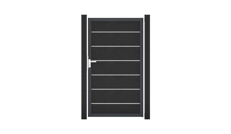 Einzeltor Maxi Premium in Anthrazit aus witterungsbeständigem BPC. Umlaufender Aluminiumrahmen in Anthrazit