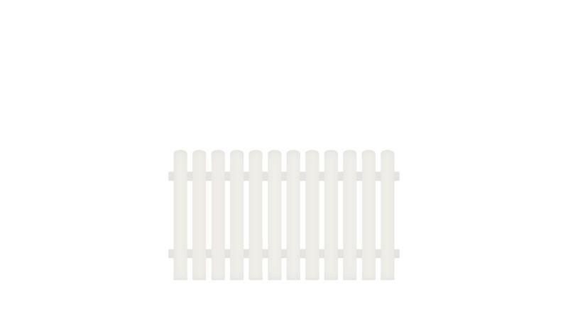 Kunststoff Gartenzaun mit Vollkunstofflatten und Aluminiumquerriegel, 180 x 100 cm, weiß (RAL 9016), Edelstahl verschraubt, inkl. Montageset und Bohrer