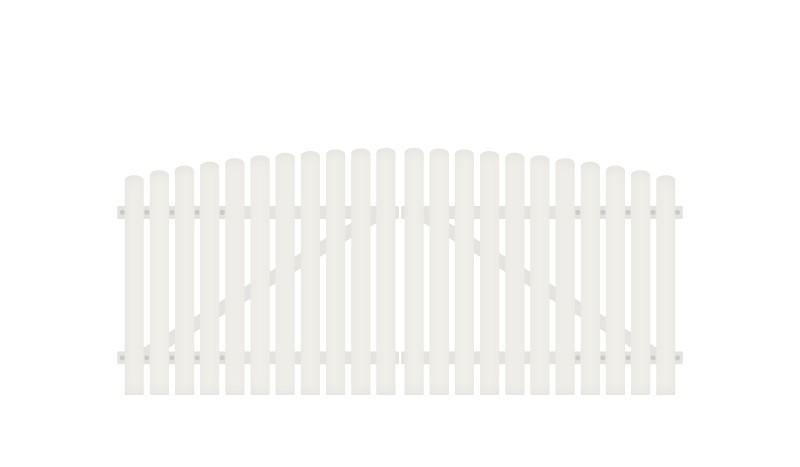 Vollkunstofflatten auf Aluminiumrahmen, 308 x 120 auf 135 cm, weiß (RAL 9016), inkl. verstellbare Edelstahlbeschläge (6mm starke Ladenbänder vormontiert), Überwurf, Bodenriegel, Metallhülsen und Arretierung.