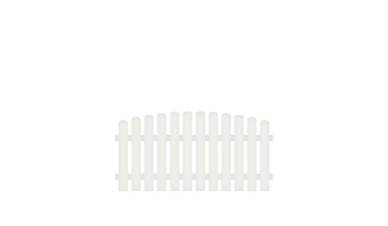 Kunststoff Gartenzaun mit dekorativem Oberbogen. 10 Jahre Garnatie auf UV-Beständigkeit. 80 x 80 auf 90 cm, weiß (RAL 9016), Edelstahl verschraubt, inkl. Montageset und Bohrer