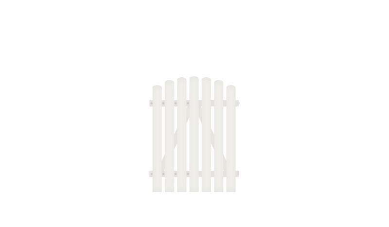 Wetterfestes Einzeltor mit Vollkunstofflatten auf Aluminiumrahmen, 100 x 120 auf 130 cm, weiß (RAL 9016),  DIN-R, inkl. verstellbare Edelstahlbeschläge.