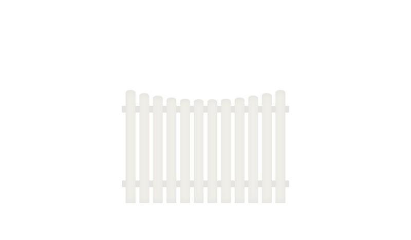 Witterungsbeständiger Kunststoff Gartenzaun. 180 x 120 auf 110 cm, weiß (RAL 9016), Edelstahl verschraubt, inkl. Montageset und Bohrer