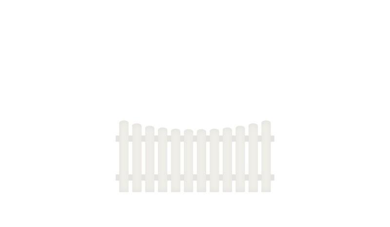 Kunststoff Gartenzaun mit Vollkunstofflatten und Aluminiumquerriegel, 180 x 80 auf 70 cm, weiß (RAL 9016), Edelstahl verschraubt, inkl. Montageset und Bohrer