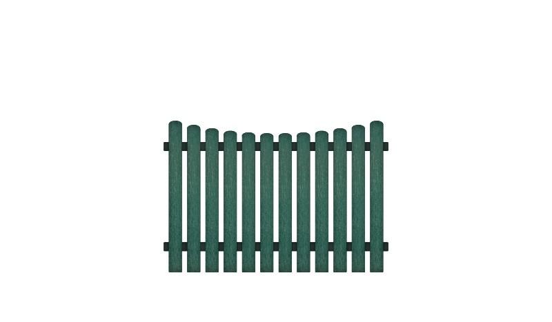 Wetterfeste Kunststoff Gartenzäune mit Vollkunstofflatten und Aluminiumquerriegel, 180 x 120 auf 110 cm, grün (RAL 6012), Edelstahl verschraubt, inkl. Montageset und Bohrer