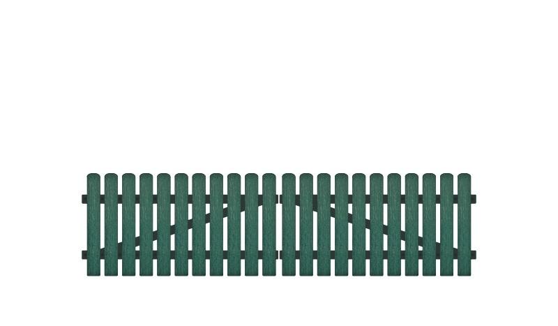 Pflegeleichtes Kunststoff Doppeltor, Vollkunstofflatten auf Aluminiumrahmen, 308 x 80 cm, grün (RAL 6012), inkl. verstellbare Edelstahlbeschläge (6mm starke Ladenbänder vormontiert), Überwurf, Bodenriegel, Metallhülsen und Arretierung.