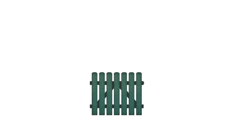 Pflegeleichtes Einzeltor bestehend aus Vollkunstofflatten auf Aluminiumrahmen, DIN-R, inkl. verstellbare Edelstahlbeschläge (6mm starke Ladenbänder vormontiert) und Überwurf