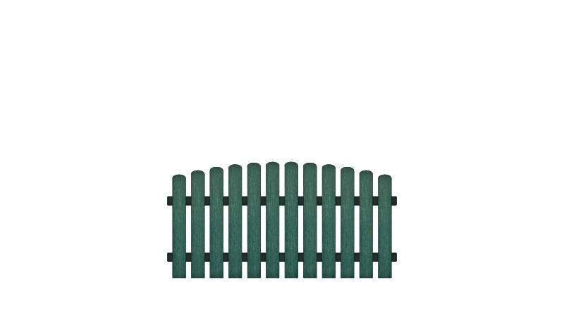 Pflegeleichte Kunststoffgartenzäune mit Aluminiumquerriegel, 180 x 80 auf 90 cm, grün (RAL 6012), Edelstahl verschraubt, inkl. Montageset und Bohrer