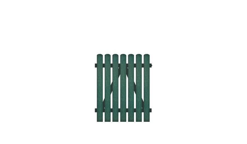 Kunststoffgartentor mit 10 Jahren Garantie, Vollkunstofflatten auf Aluminiumrahmen, 100 x 120 cm, grün (RAL 6012),  DIN-R, inkl. verstellbare Edelstahlbeschläge und Überwurf