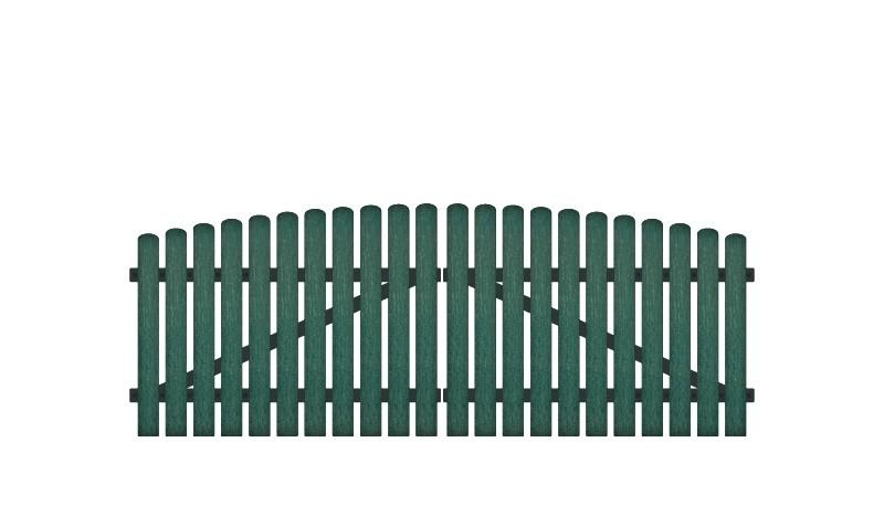 Pflegeleichtes Doppeltor, bestehend aus Vollkunstofflatten auf Aluminiumrahmen, 308 x 100 auf 115 cm, grün (RAL 6012), inkl. verstellbare Edelstahlbeschläge (6mm starke Ladenbänder vormontiert), Überwurf, Bodenriegel, Metallhülsen und Arretierung.