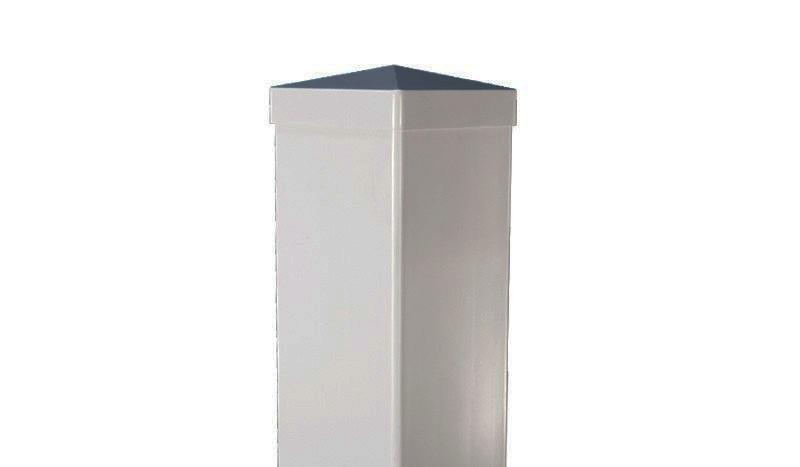 Silbergrauer Kunststoffpfosten mit Alukern und Überlänge zum Einbetonieren.