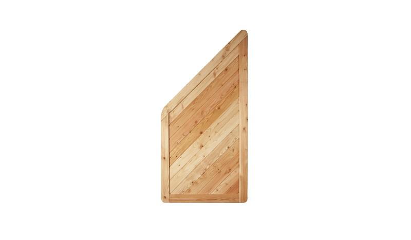 Sichtschutzzaun Isar Schlusselement aus naturbelassener Lärche in 90x180/90cm, Rahmen 45x90 mm,
