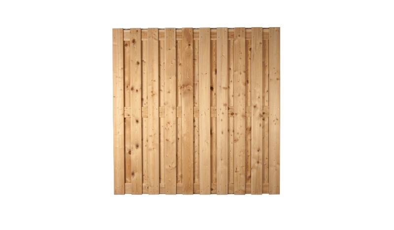 Sichtschutz Zaun aus naturbelassener sibirischer Lärche. 180x180cm. Lamellen: 14 x 120 mm