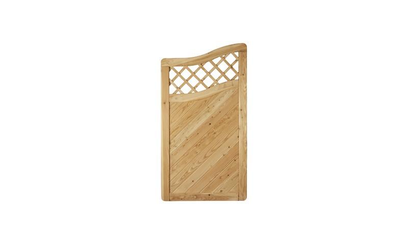 Lärchenholz Zaunabschluss Element mit Rankgitter und Bogen. 90x165 /150cm. Maschenweite: 6x6 cm