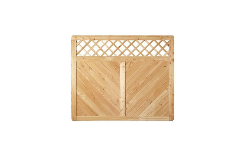 Holz Zaun aus Sibirischer Lärche mit Rankgitter. 180x150cm. Rankstäbe: ca. 12 x 30 mm. Maschenweite: ca. 6 x 6cm