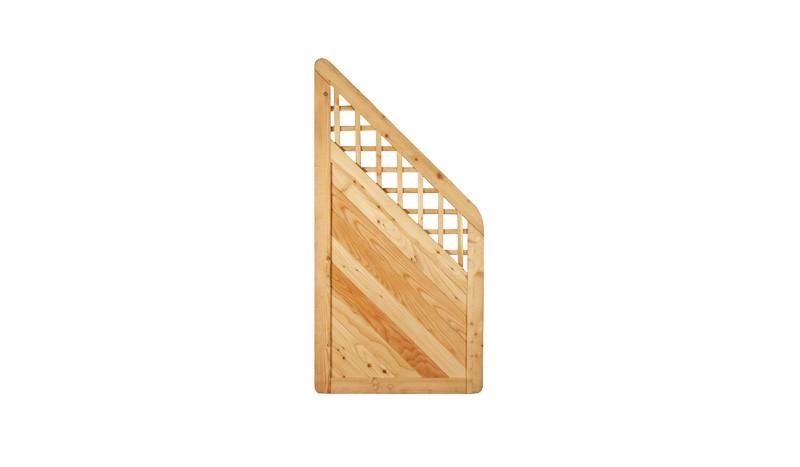 Lärchenholz Abschlusselement mit Rankgitter. 90 x 180/90cm. Profilbretter: ca. 18 x 125 mm