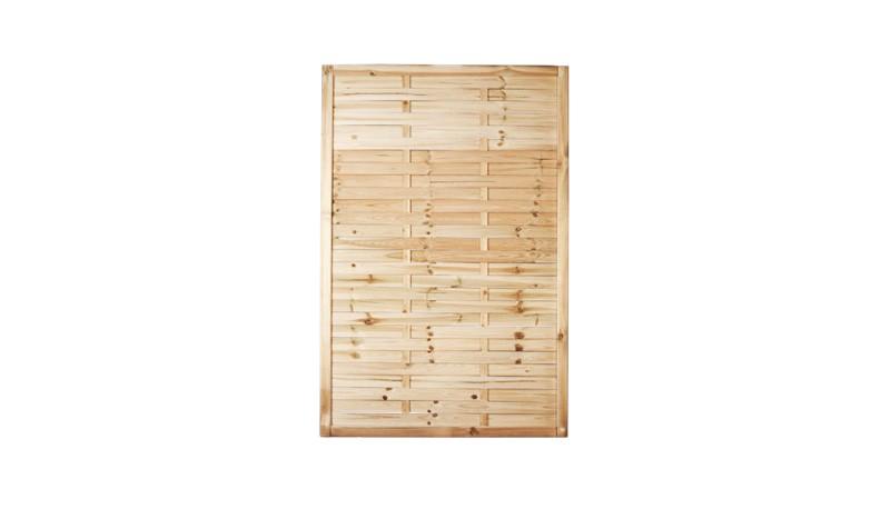 Ein verkürztes Sichtschutzelement mit einem Maß von: 120 x 180cm aus druckimprägniertem Holz