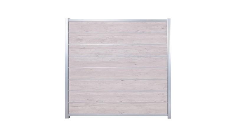 Im Paket günstiger: Das Zaunset aus pflegeleichtem WPC und Aluminium beinhaltet 8 Lamellen in Sand, 7 Zwischenleisten, Start- und Abschlussleisten in Silber