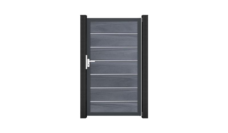 Das Tor der Maribo Maxi-Serie wird von einem umlaufenden Rahmen aus Aluminium verstärkt. Lamellen aus langlebigem BPC in steingrauer Struktur