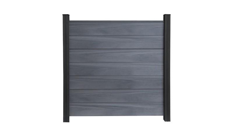 Das steingraue Zaunfeld Maribo Maxi besteht aus 7 pflegeleichten BPC Lamellen inkl. Abdeckleiste. Maß: 180 x 180 cm