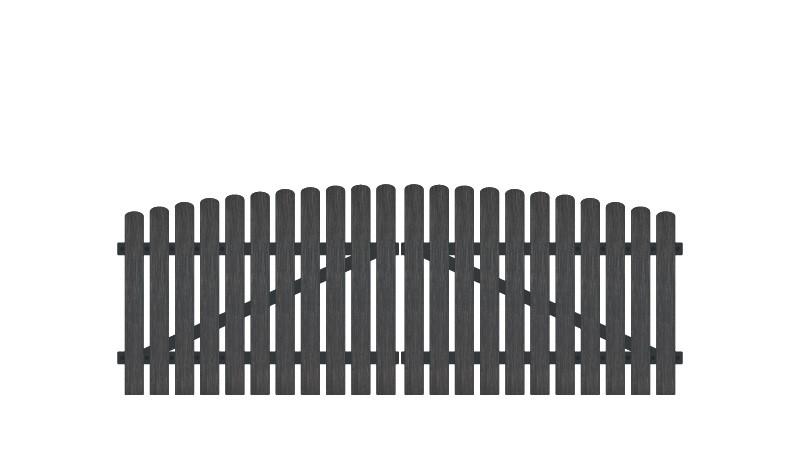 Pflegeleichtes Doppeltor aus Vollkunstofflatten auf Aluminiumrahmen, 308 x 100 auf 115 cm, anthrazit (RAL 7016), inkl. verstellbare Edelstahlbeschläge (6mm starke Ladenbänder vormontiert), Überwurf, Bodenriegel, Metallhülsen und Arretierung.