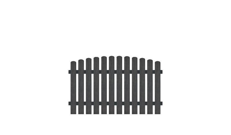 Pflegeleichter Gartenzaun aus Kunststoff. 180 x 100 auf 110 cm, anthrazit (RAL 7016), Edelstahl verschraubt, inkl. Montageset und Bohrer