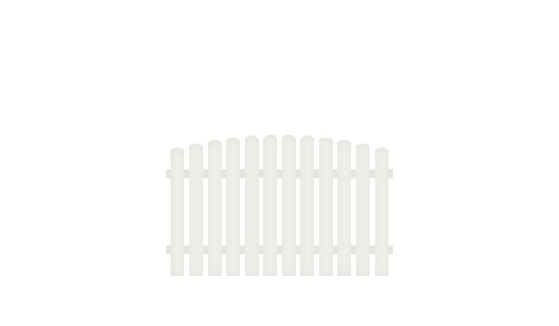 Pflegeleichter Kunststoff Gartenzaun mit dekorativem Oberbogen. Edelstahl verschraubt, inkl. Montageset und Bohrer