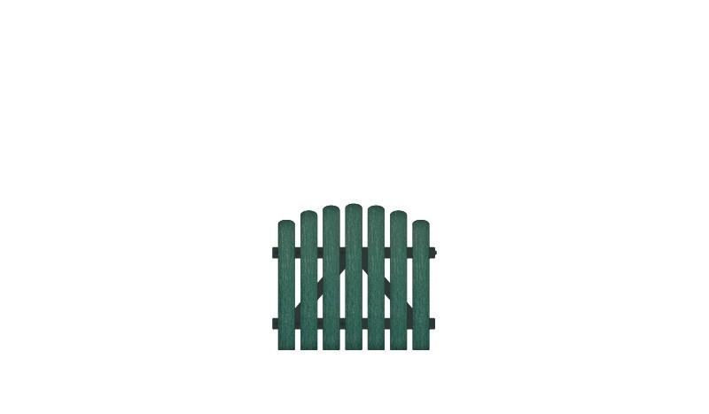 Pflegeleichtes Kunststofftor, bestehend aus Vollkunstofflatten auf Aluminiumrahmen, DIN-R, inkl. verstellbare Edelstahlbeschläge (6mm starke Ladenbänder vormontiert) und Überwurf