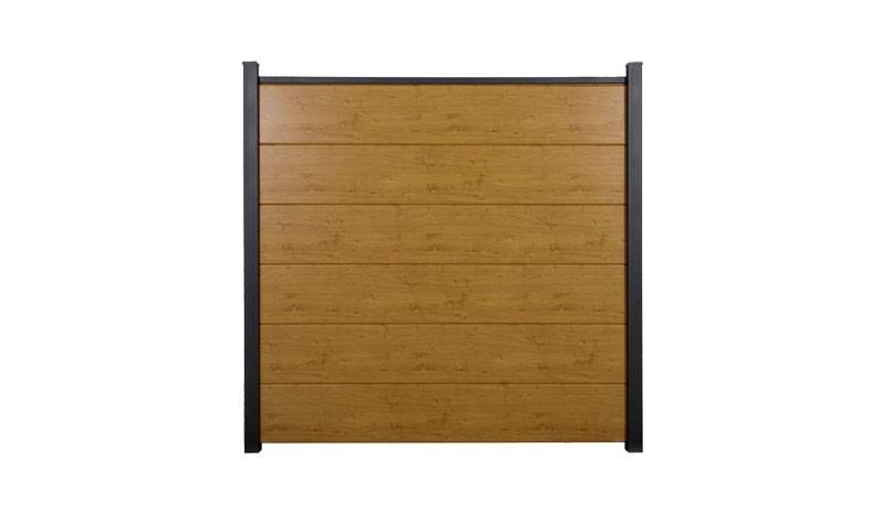 Witterungsbeständiger PVC-Steckzaun im Holzdekor Asteiche. Maß: 180 x 180 cm
