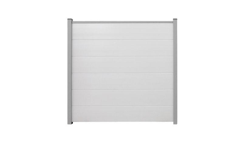 Blickdichter Steckzaun aus wetterfestem PVC in Weiß. Maß: 180 x 180 cm