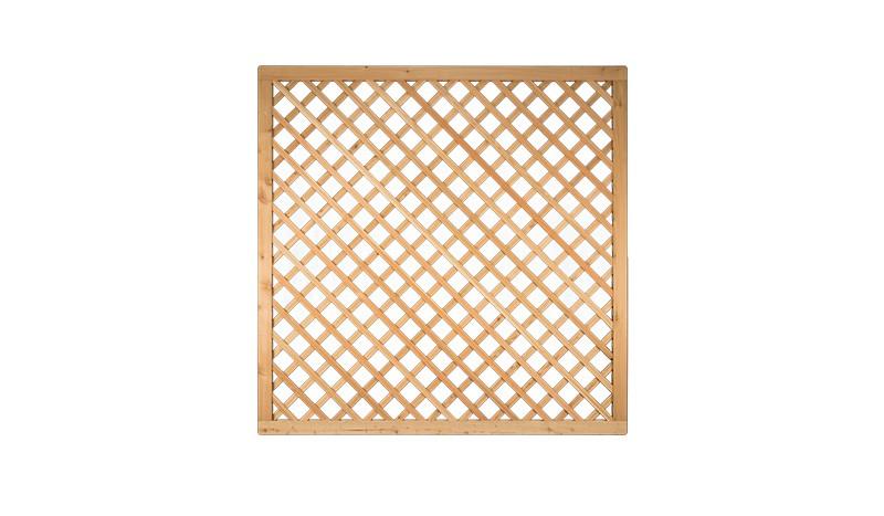Rankgitter 180 x 180cm mit 4,5 x 6,5cm Rahmen aus sibirischer Lärche, Edelstahl geklammert