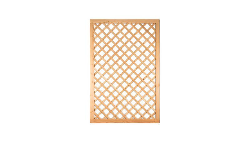 Rankgitter Lärche (sibirisch) in dem Maß 120 x 180cm mit 4,5 x 6,5cm Rahmen, Edelstahl geklammert