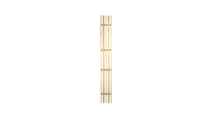 Das Rankgitter für unsere gestaltbare Terrassenabtrennung Wyk mit einem Maß von 20 x 179 cm, wird aus Lärche gefertigt