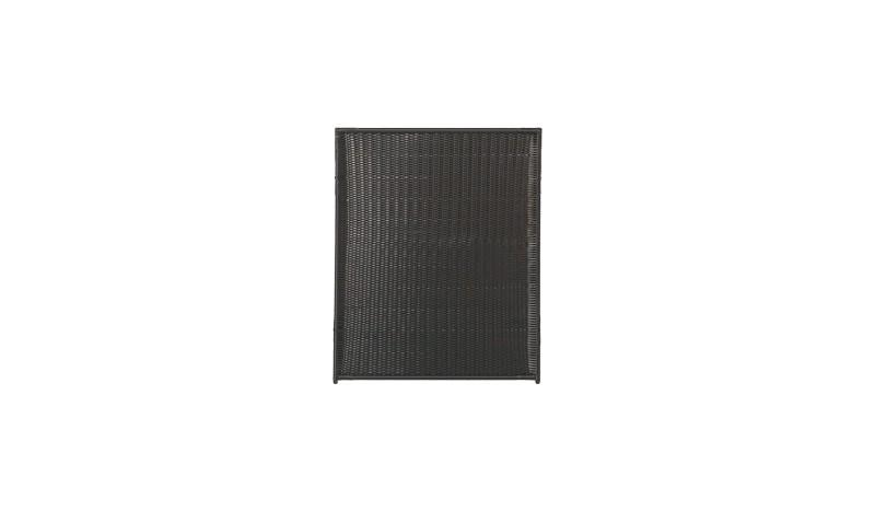 Moderner Sichtschutz aus Polyrattangeflecht in 115 x 140 cm Größe. Die Rahmen sind mit Aluminiumrohren verstärkt und sorgen für hohe Stabilität.