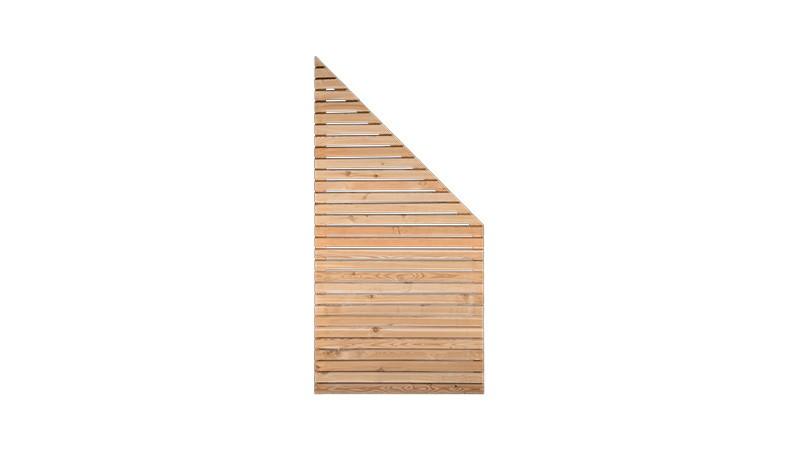 Abschlusselement des Rhombus Sichtschutzzauns in 90cm Breite x 180cm Höhe (Linke Seite) auf 90cm Höhe (Rechte Seite), Sibirische Lärche, Edelstahl verschraubt