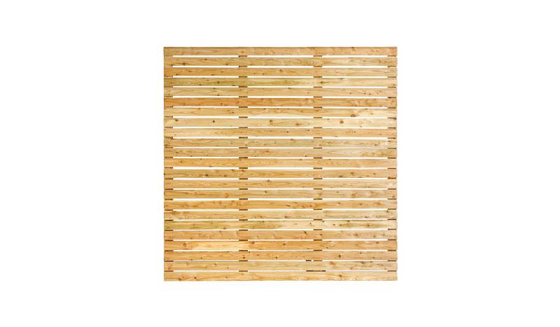 Quadratisches 180 x 180 cm Rhombuszaunelement aus naturbelassener, widerstandsfähiger Lärche