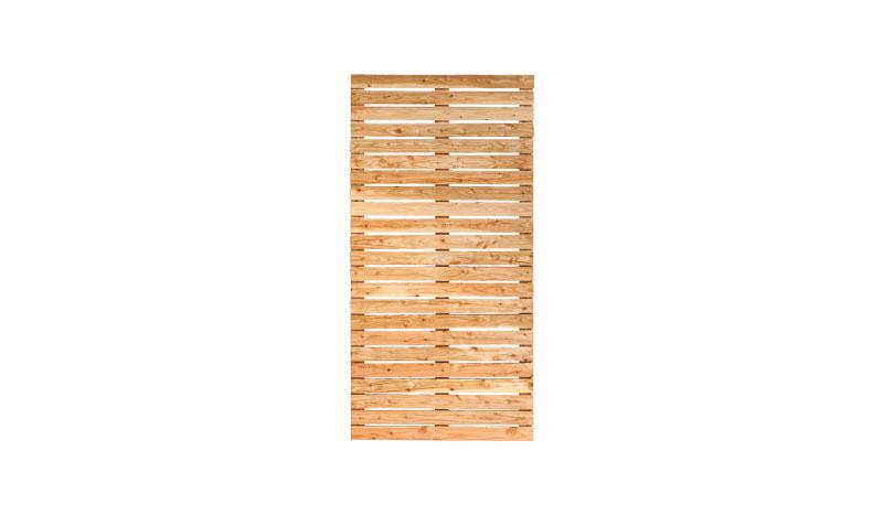 Rechteckiges 90 x 180 cm Rhombuszaunfeld. Die Leisten und Riegel messen jeweils 22 x 70 mm und sind mit Rillennägeln aus Edelstahl fixiert